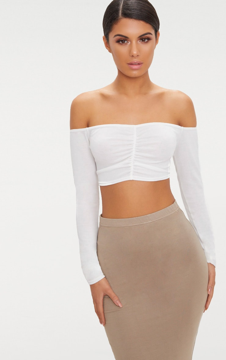 Cream Ruched Front Knit Top 1