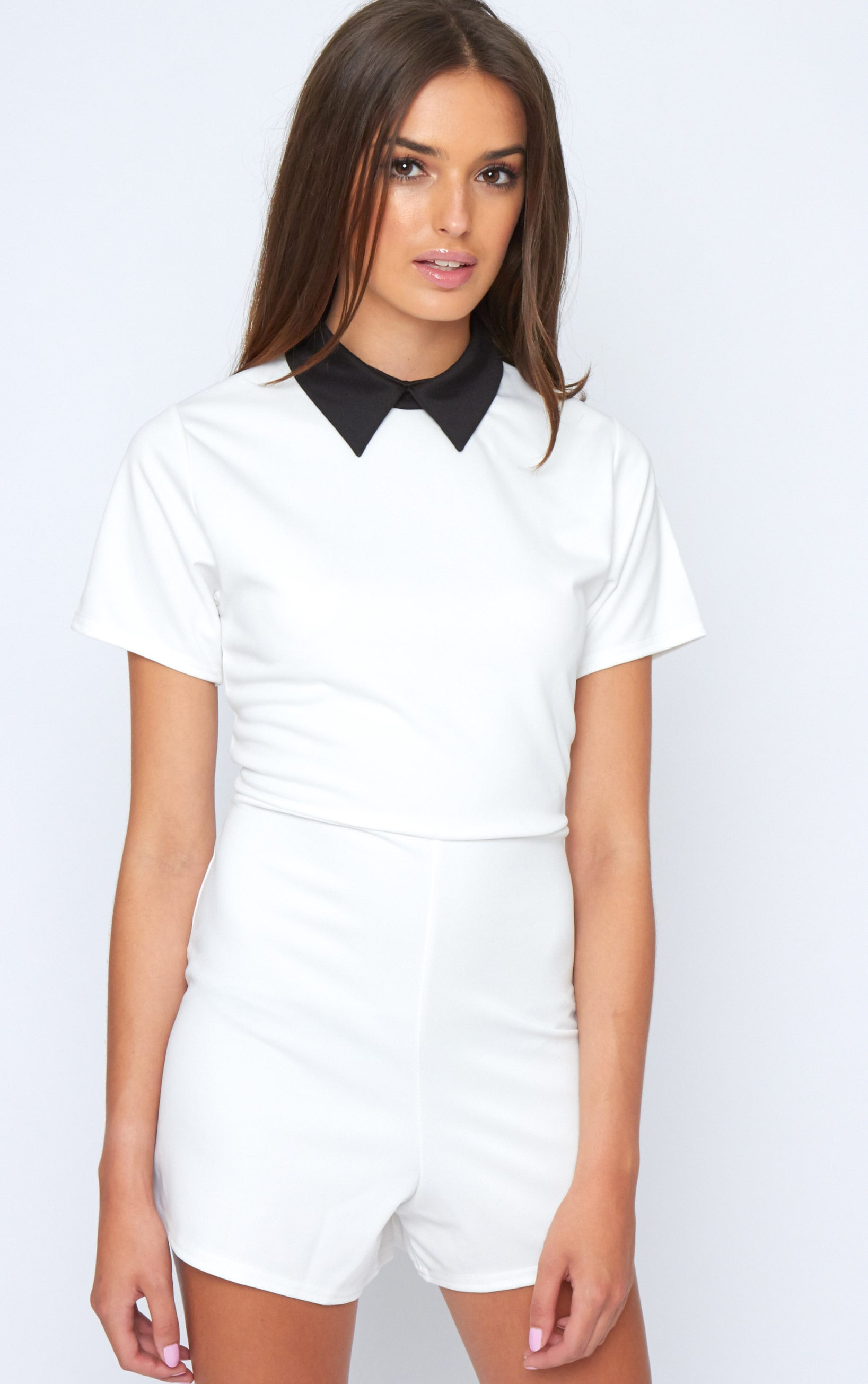 Edie White Playsuit With Black Collar Detail-M/L 1