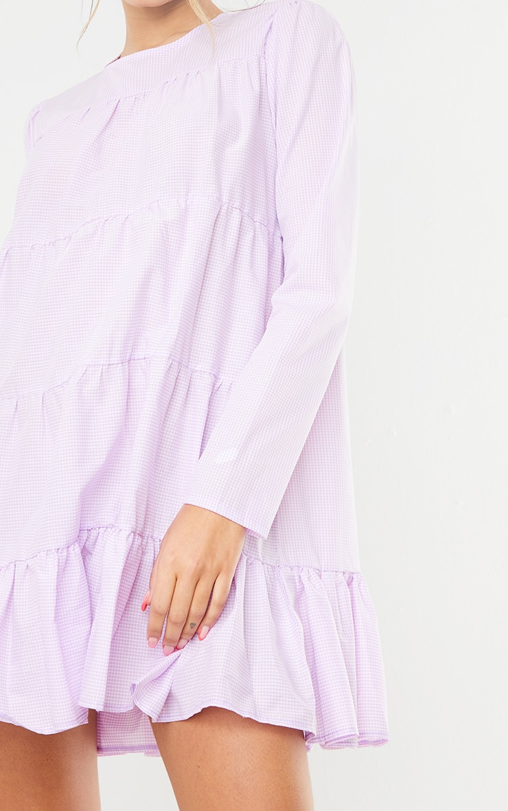 Lilac Gingham Tiered Hem Long Sleeve Shift Dress 4