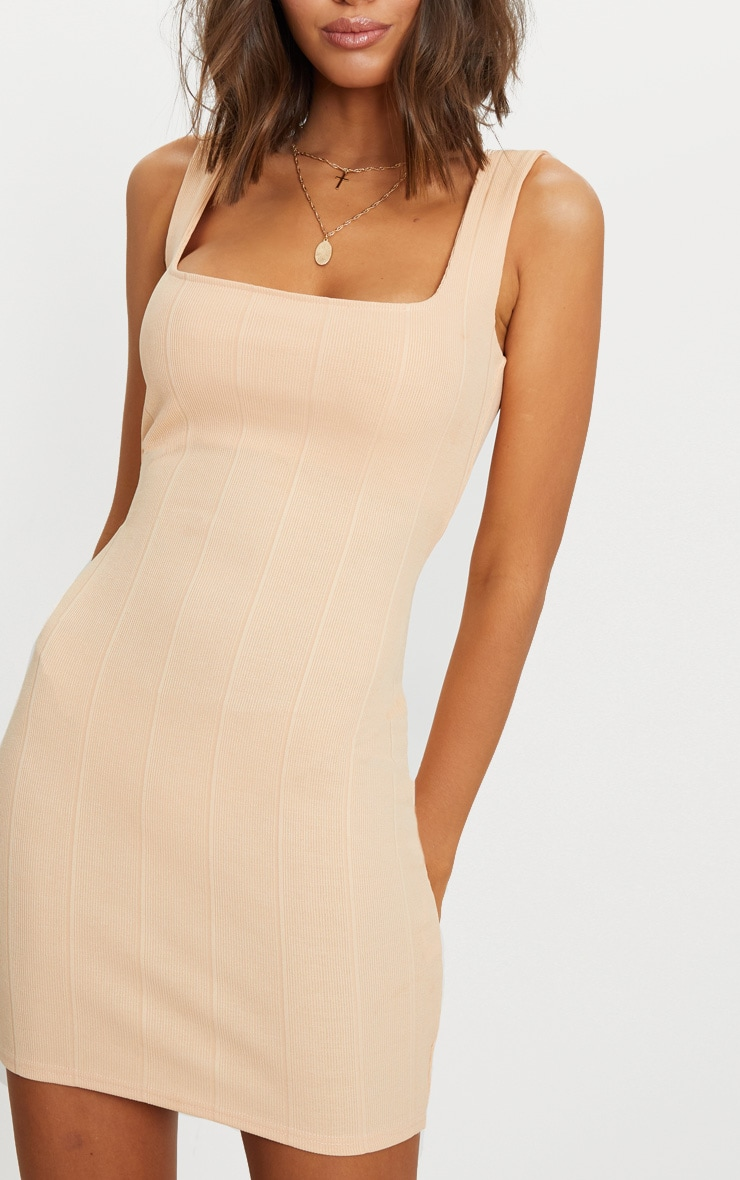 Nude Bandage Square Neck Bodycon Dress  5