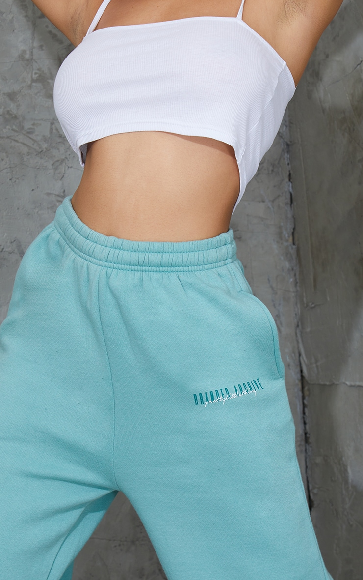 PRETTYLITTLETHING Washed Green Double Logo Joggers 4