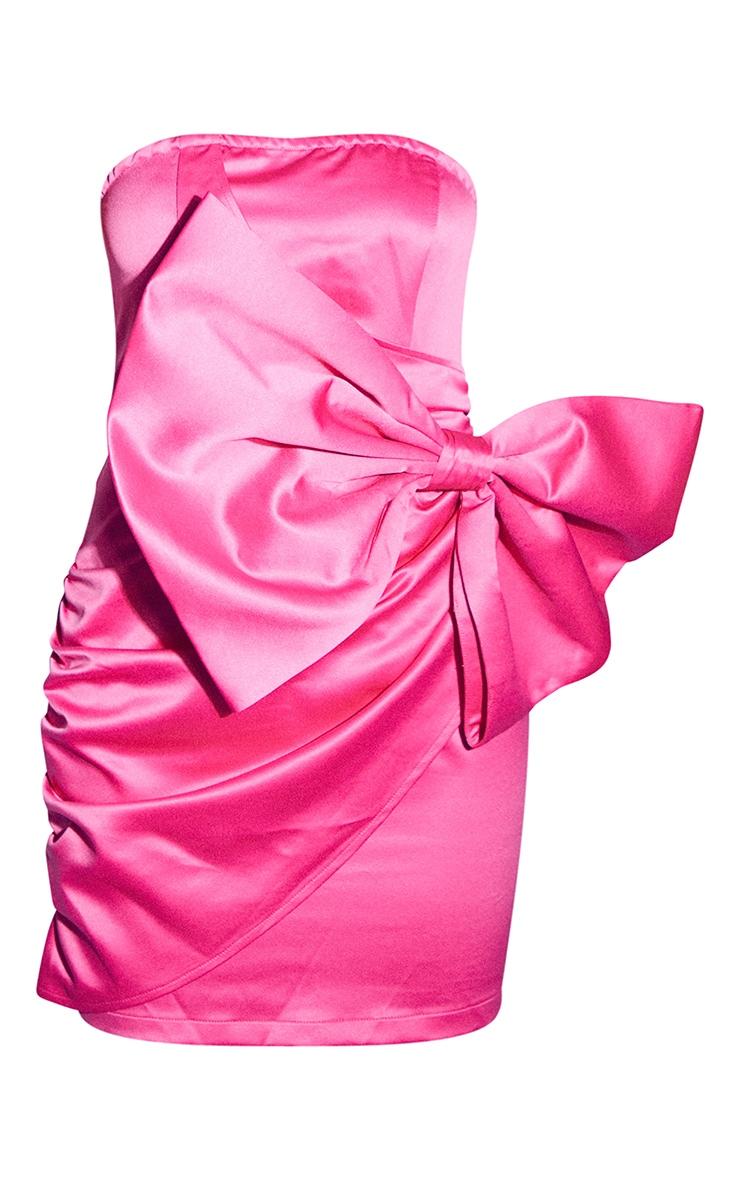 Hot Pink Satin Bow Detail Bandeau Bodycon Dress 5