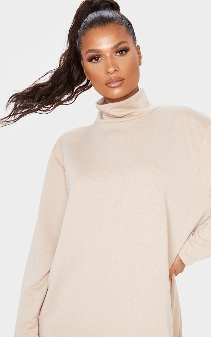 Camel Roll Neck Long Sleeve Oversized Sweater Dress 5