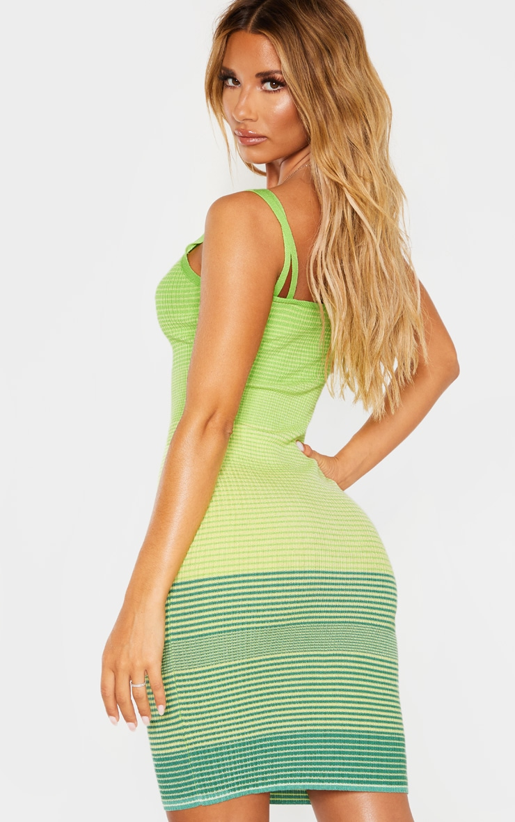 Lime Stripe Detail Knitted Strappy Dress 2