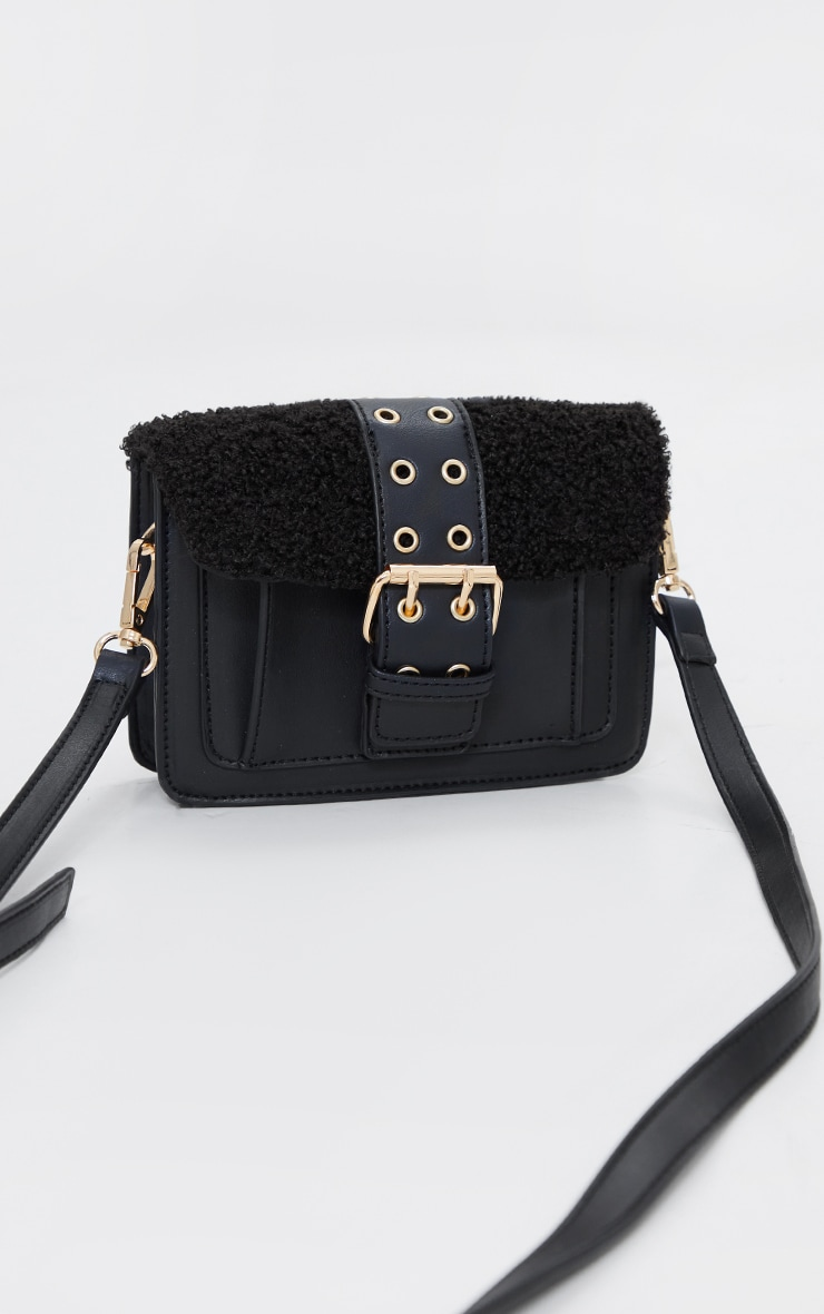 Black Borg Buckle Up Mini Satchel Cross Body Bag 2