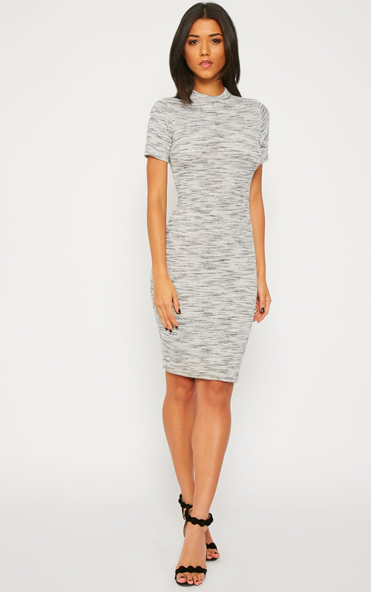 Ragna Grey Marl Short Sleeve High Neck Dress 4