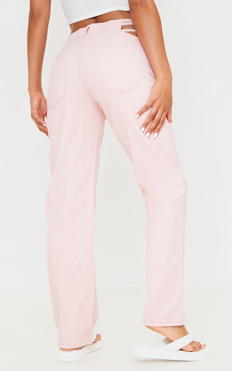 Pale Pink Strappy Cut Out Hip Straight Leg Jeans 3
