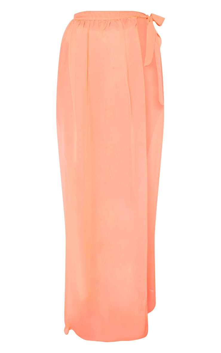 Coral Tie Side Maxi Beach Skirt 3