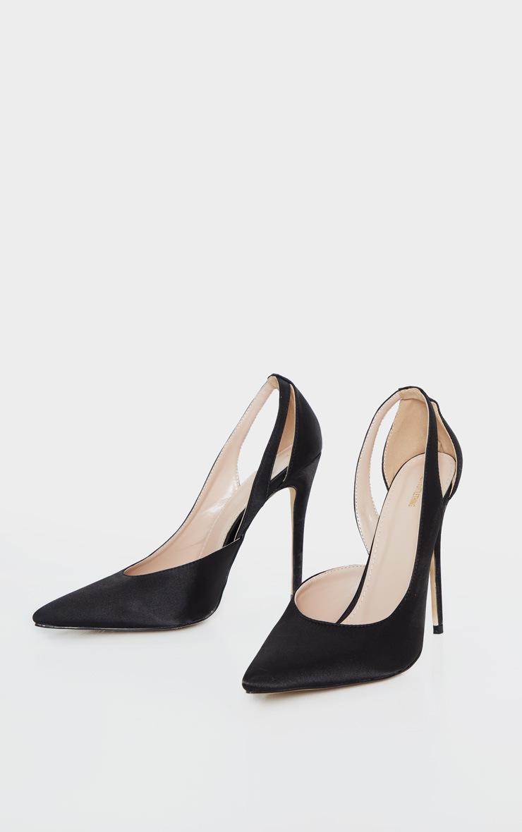 Black Satin Cut Out Heel Court Shoe  3