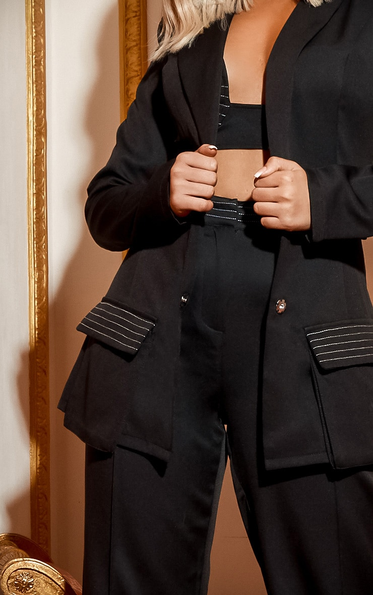 Black Seam Detail Blazer  5