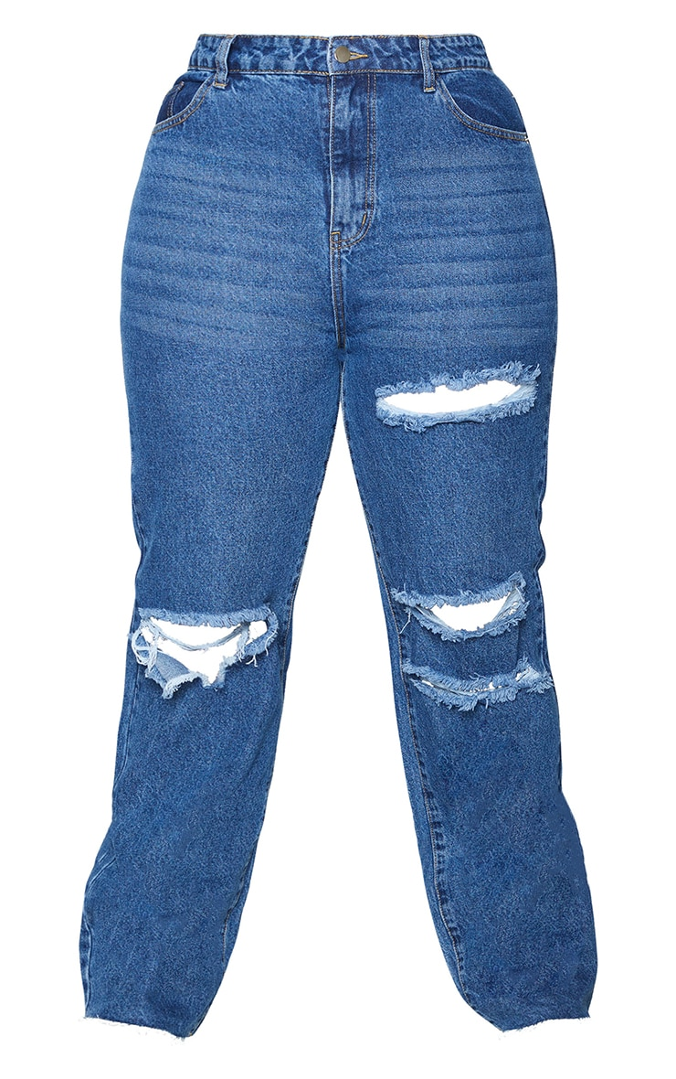 PRETTYLITTLETHING Plus Mid Blue Wash Distressed Long Leg Straight Jeans 5