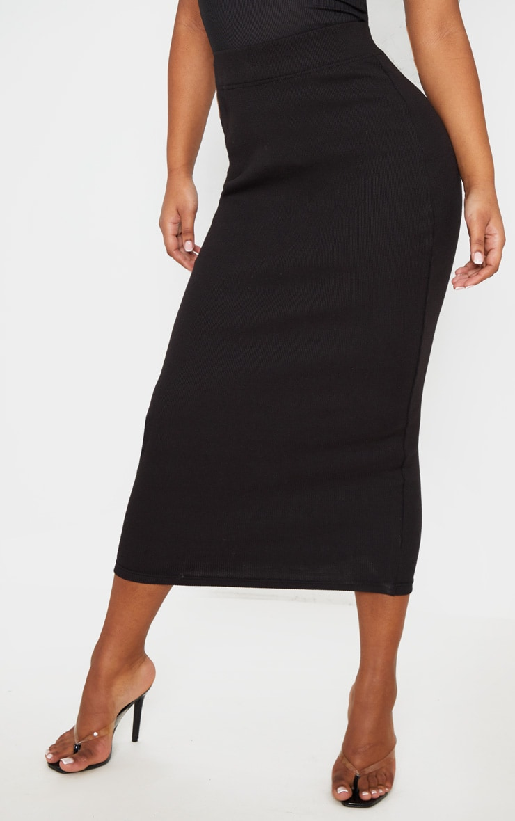 Black Structured Rib Bodycon Midaxi Skirt 2