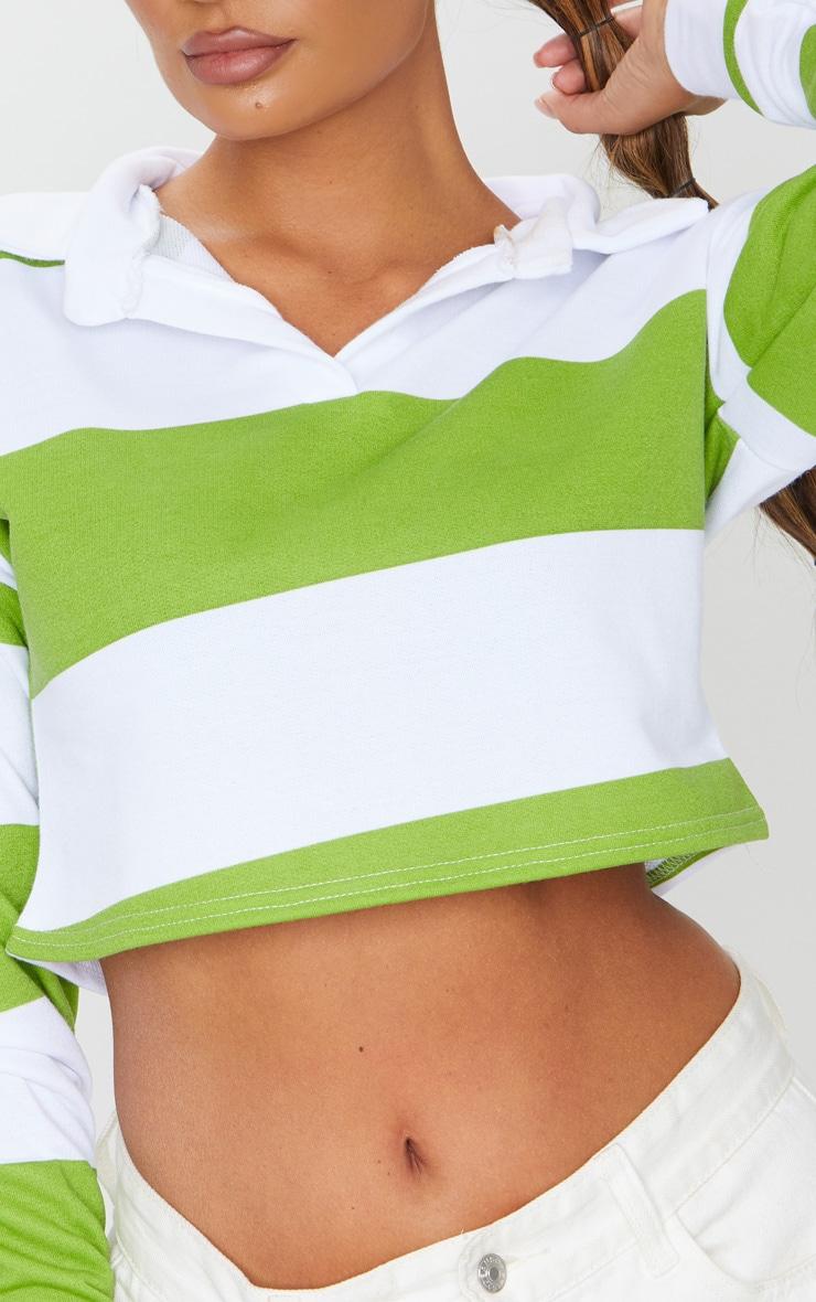 Lime Stripe Collar Polo Long Sleeve Crop Top 4