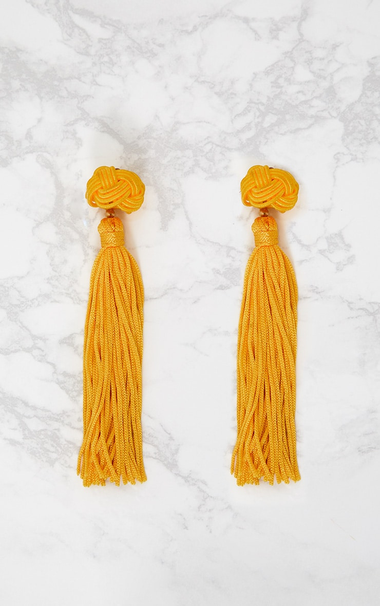 Yellow Knotted Tassel Earrings 4