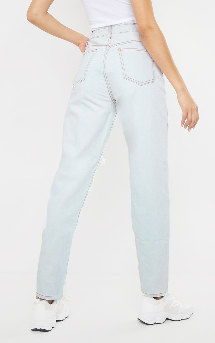 PRETTYLITTLETHING Light Bleach Wash Distressed Mom Jeans 3