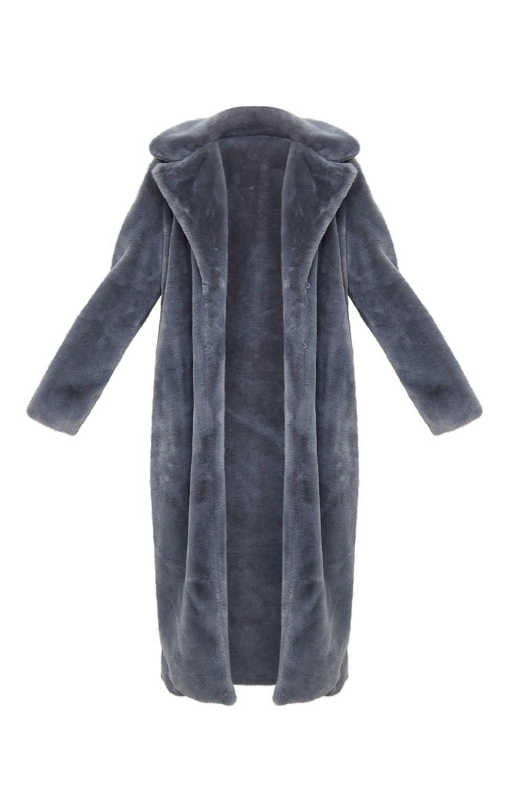 Charcoal Maxi Faux Fur Coat  3