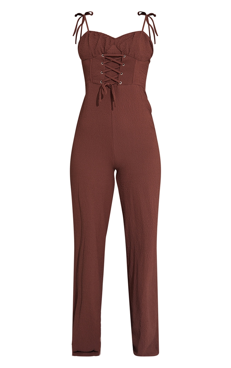 Chocolate Tie Strap Crinkle Lace Up Detail Jumpsuit 5