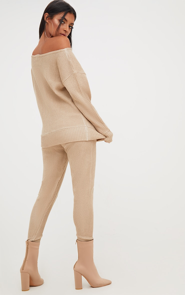 Stone Ribbed Knitted Lounge Tracksuit 2