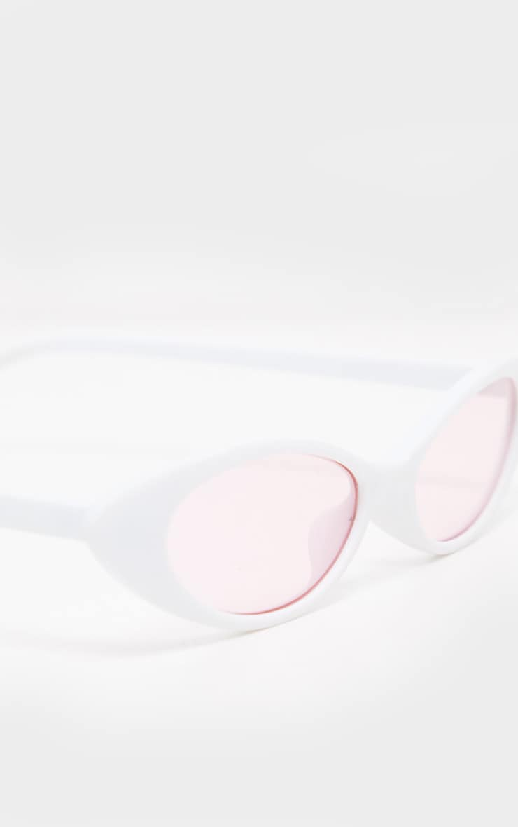 White Frame Pink Lens Slim Cat Eye Sunglasses 4