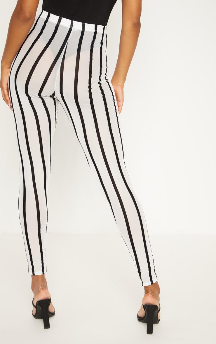White Mesh Stripe Legging 4