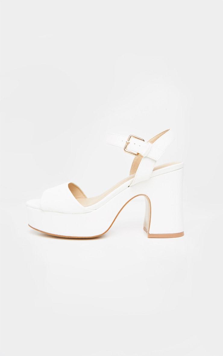 White 70's Platform Chunky Sandal 3