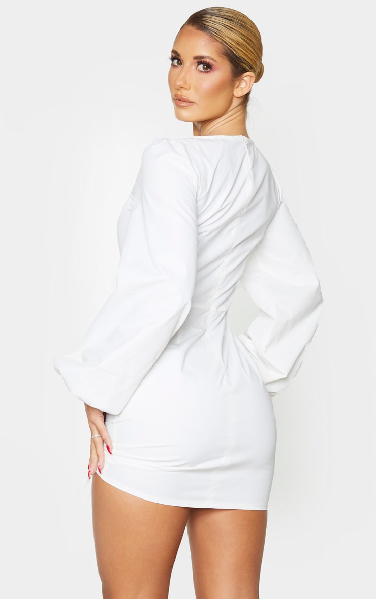 White Long Sleeve Sweetheart Neck Ruched Shirt Dress 2