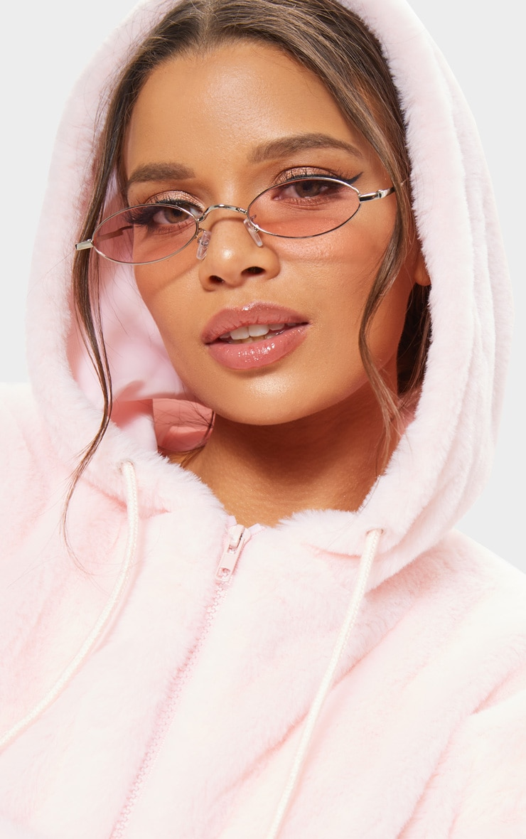 Peach Slim Metal Frame Oval Sunglasses 1