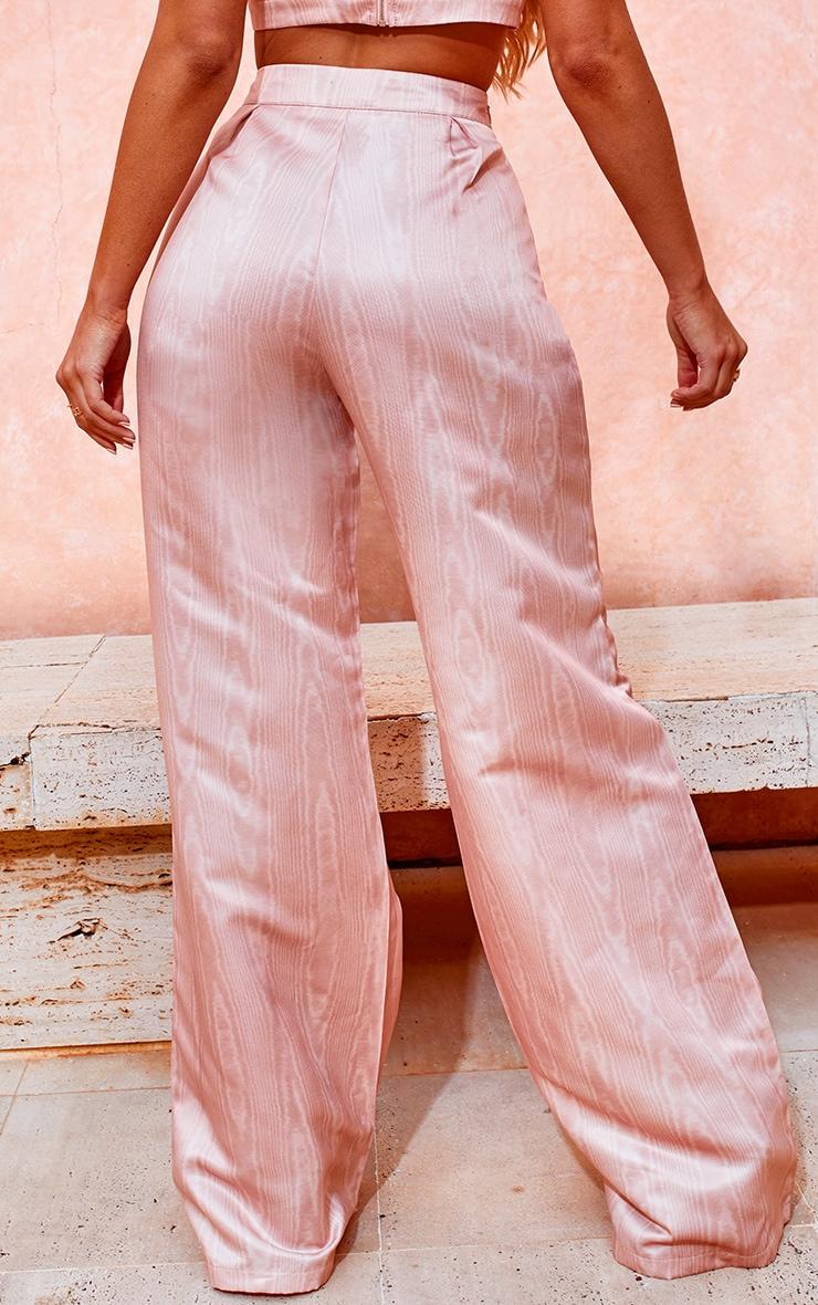 Peach Satin Printed Wide Leg Trousers 3