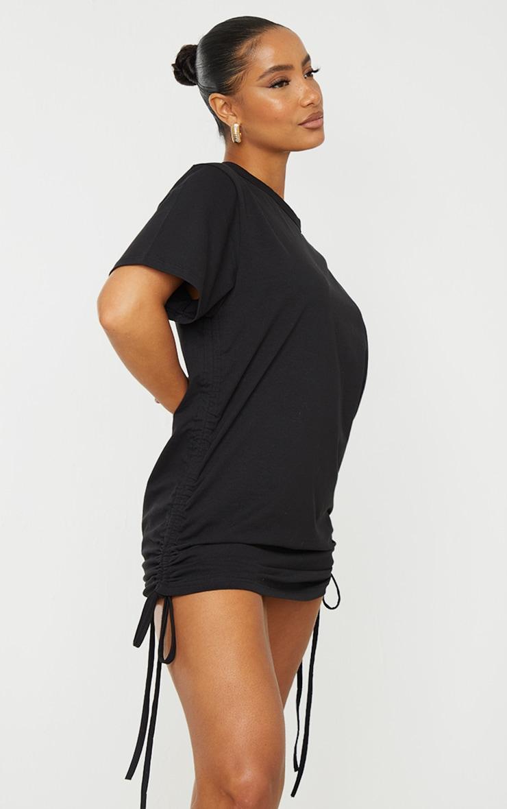 Black Cotton Ruched Side Short Sleeve T Shirt Dress 1
