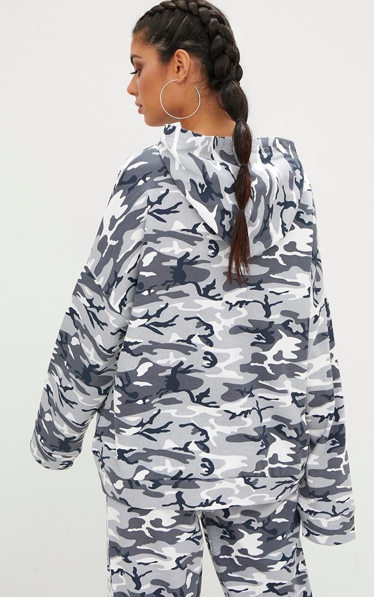 Grey Camo Oversized Hoodie  2
