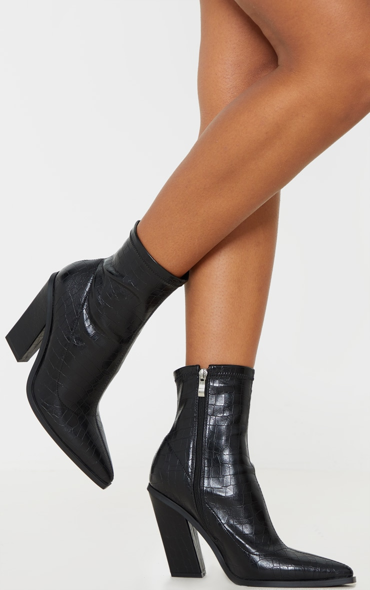 Black Croc Point Toe Block Heel Ankle Boot 1