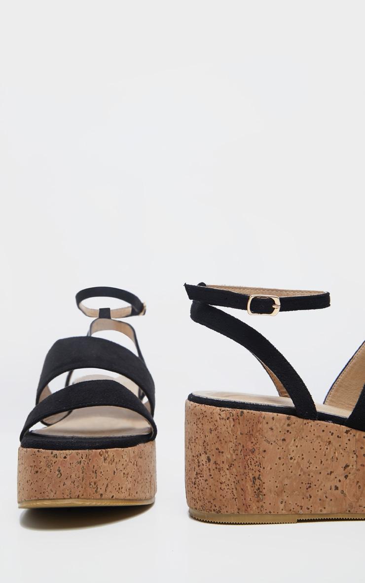 Black Twin Strap Cork Flatform Sandal 5
