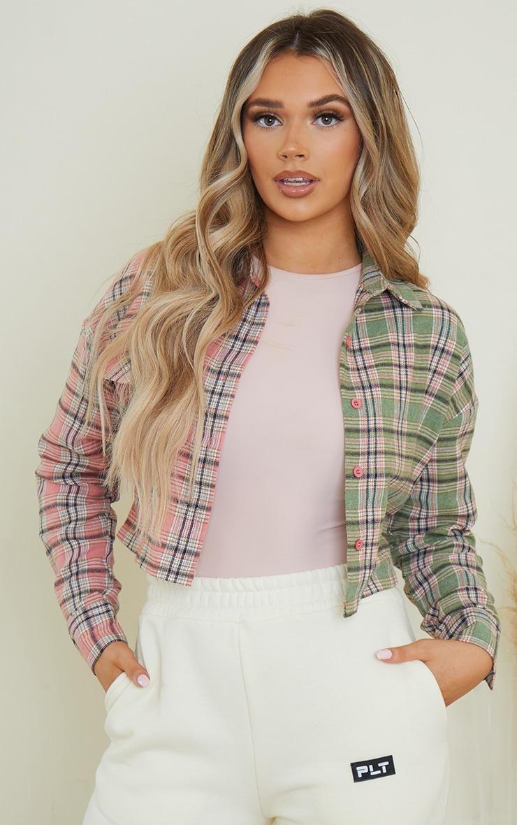 Pink Flannel Check Spliced Crop Shirt 1