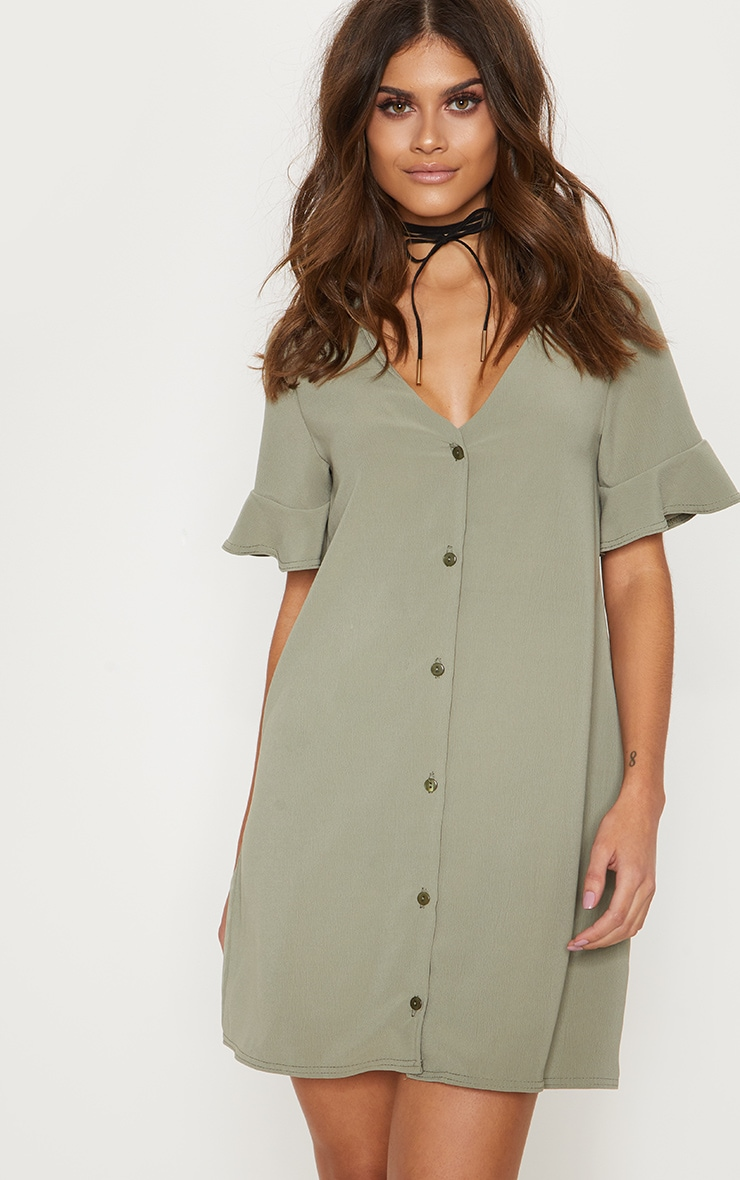 Khaki Button Through Frill Sleeve Shift Dress 4