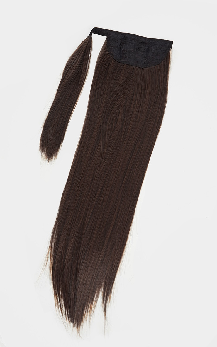 LullaBellz Grande Lengths 26 Straight Pony Extensions Dark Brown 5