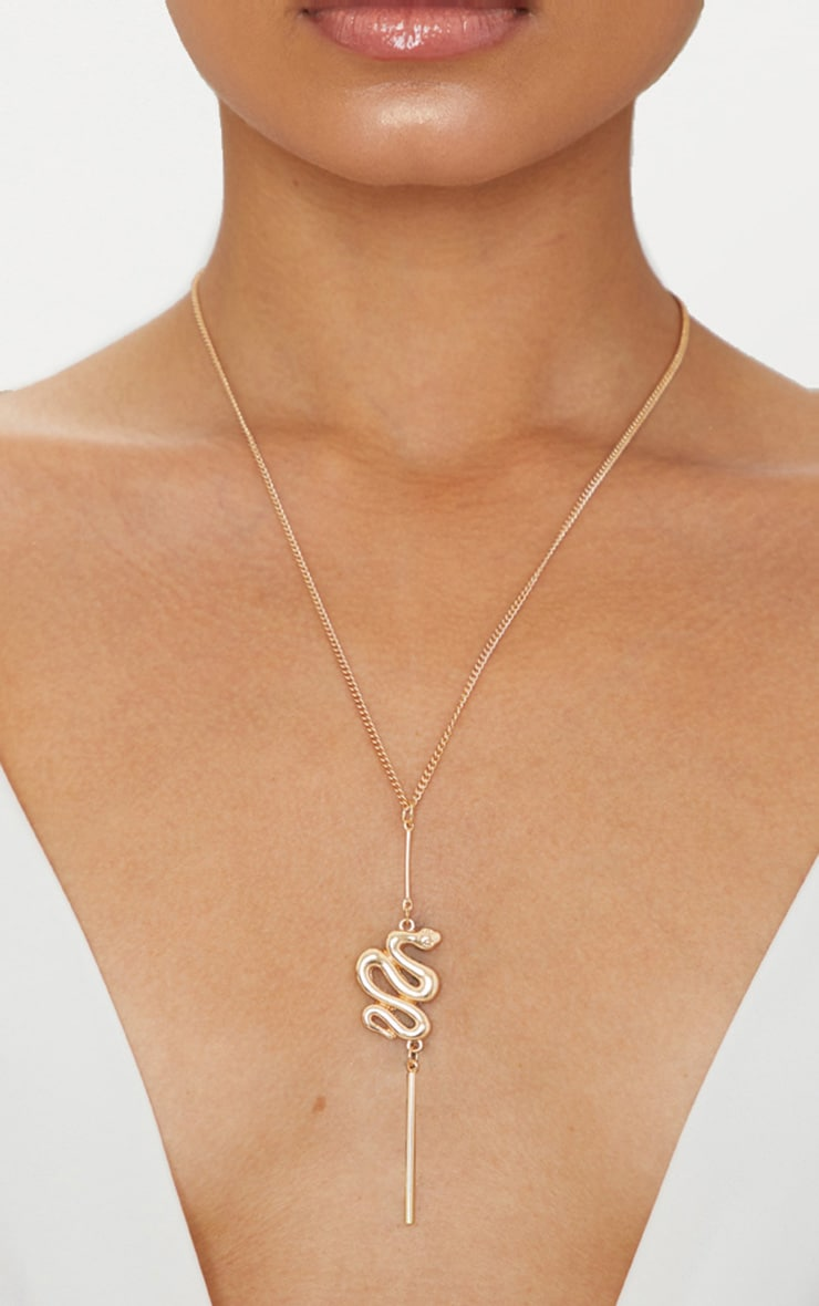 Gold Snake Pendant Necklace 1