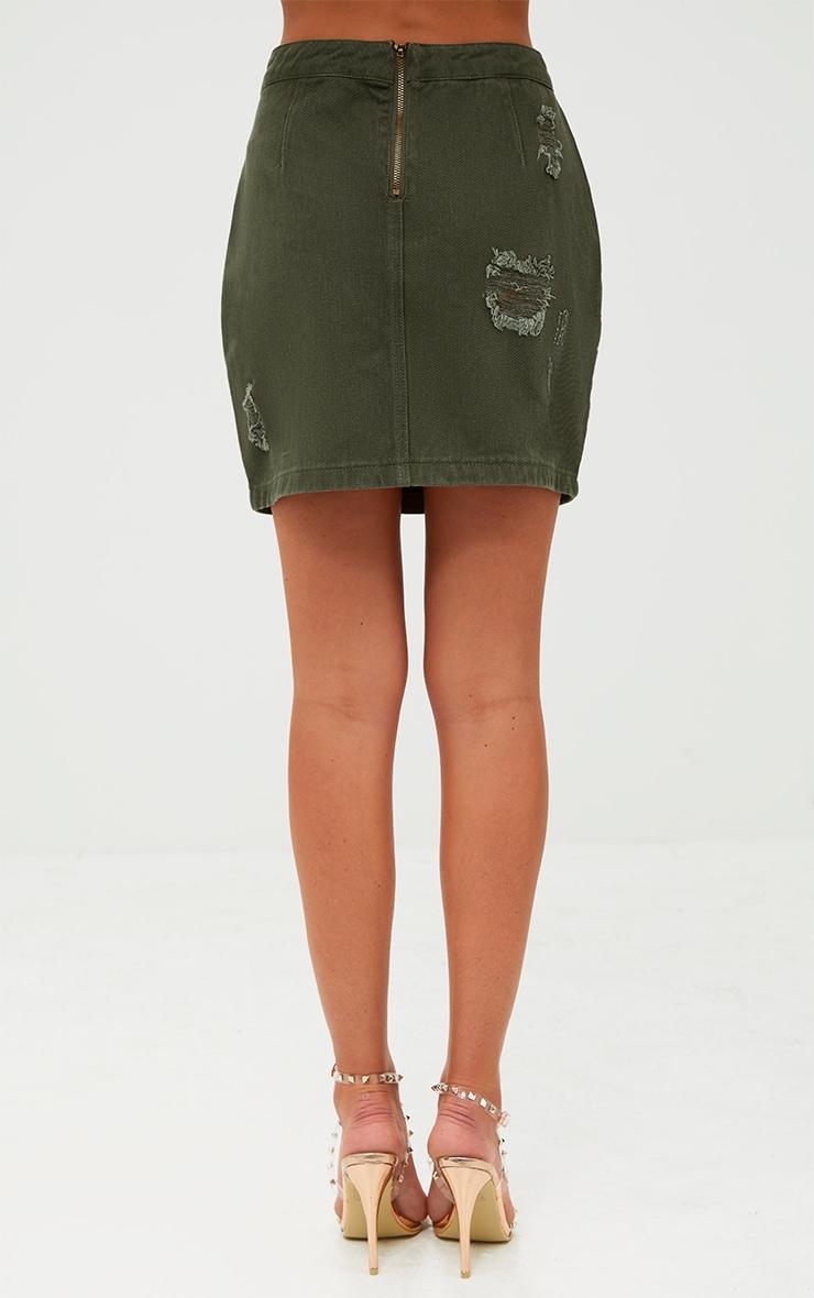 Khaki Distressed Rip Denim Mini Skirt 4