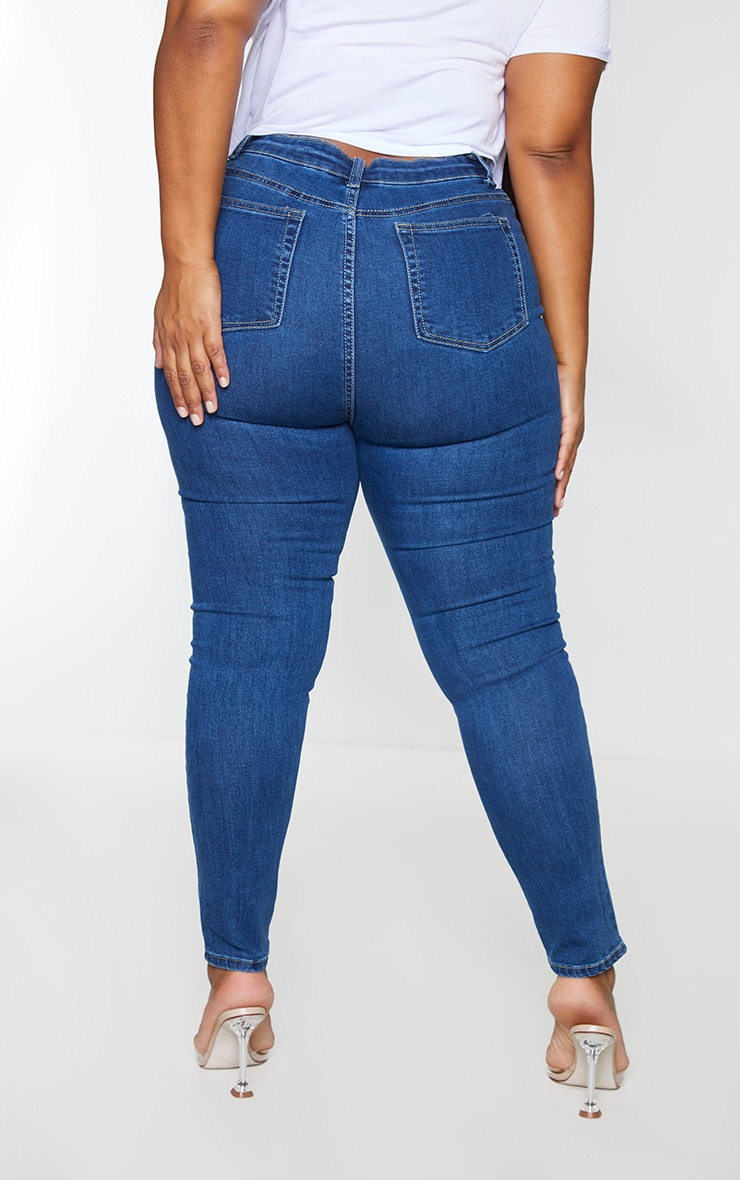 PRETTYLITTLETHING Plus Mid Wash 5 Pocket Skinny Jean 2