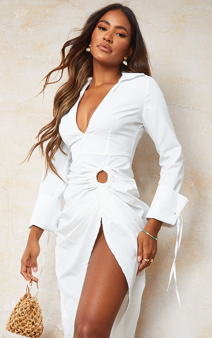 White Oversized Tie Cuff Ring Detail Midi Shirt Dress 4