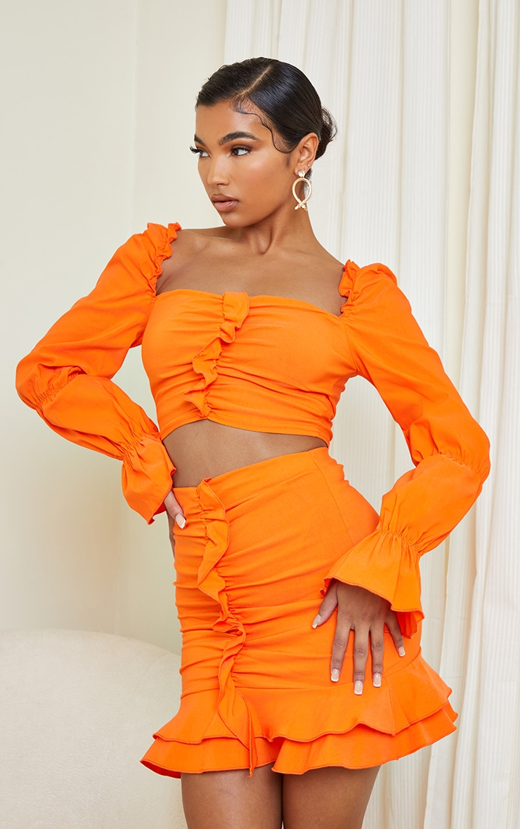Orange Woven Stretch Frill Ruched Front Long Sleeve Crop Top 1