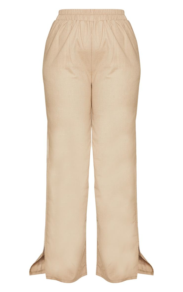 Plus Camel Elasticated Waist Wide Leg Trousers 5