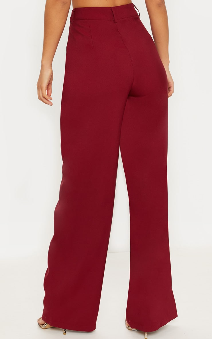 Burgundy Wide Leg Suit Trouser 4