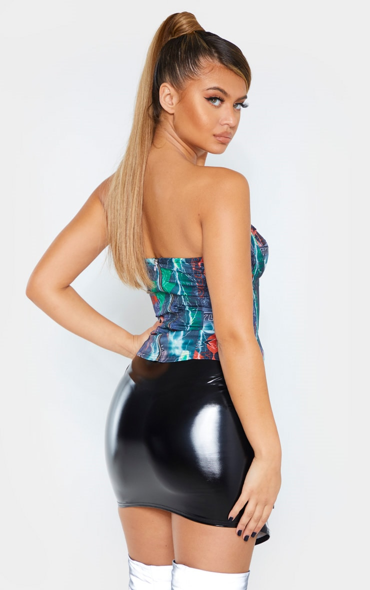 PRETTYLITTLETHING Multi Printed Structured Corset 2