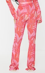 Petite Pink Floral Print Mesh Skinny Fit Flared Trousers 2