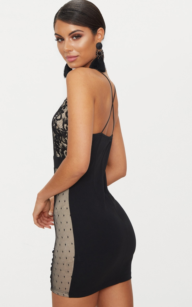 Black Lace Panel Plunge Bodycon Dress 2