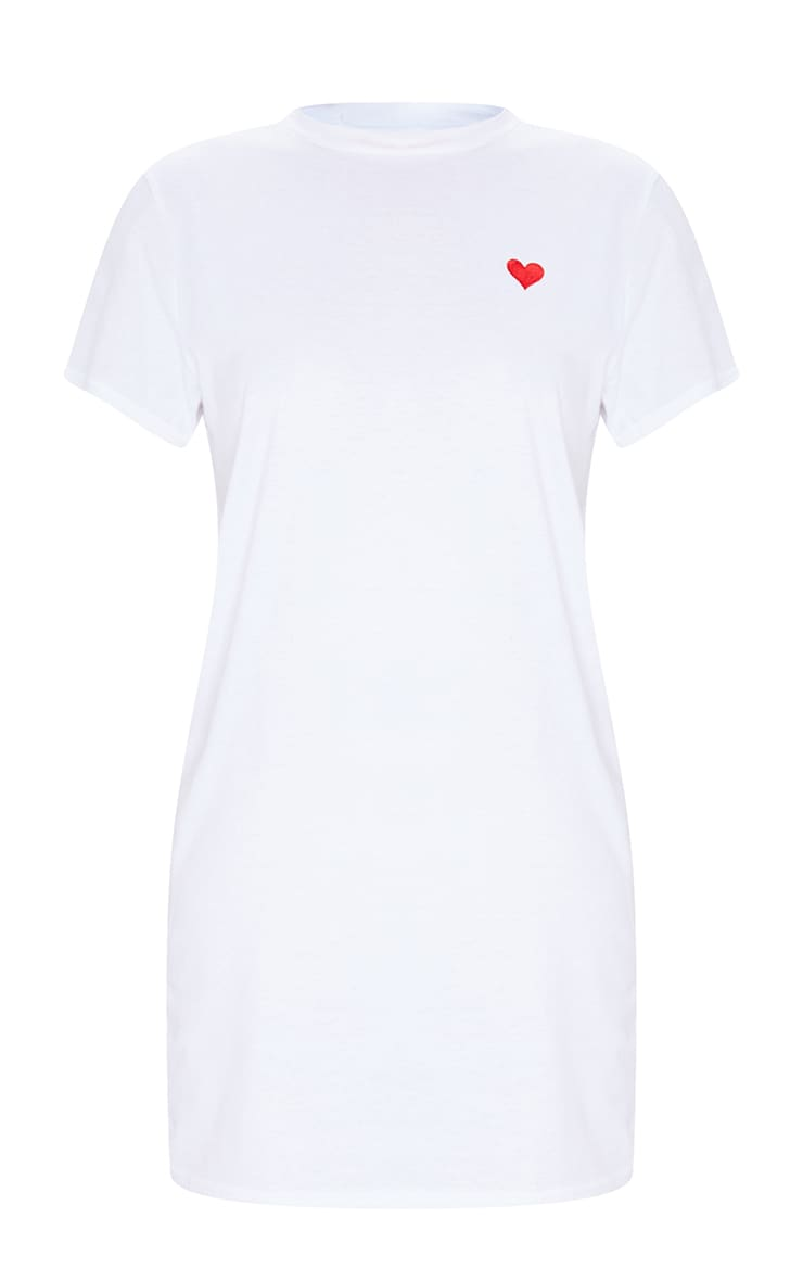 White Heart Embroidered T Shirt Dress 5