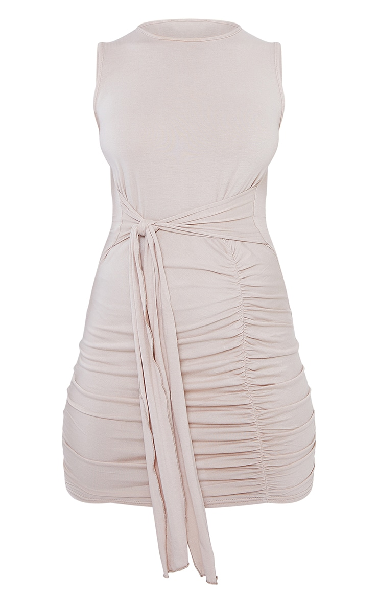 Stone Jersey Sleeveless Tie Waist Bodycon Dress 5