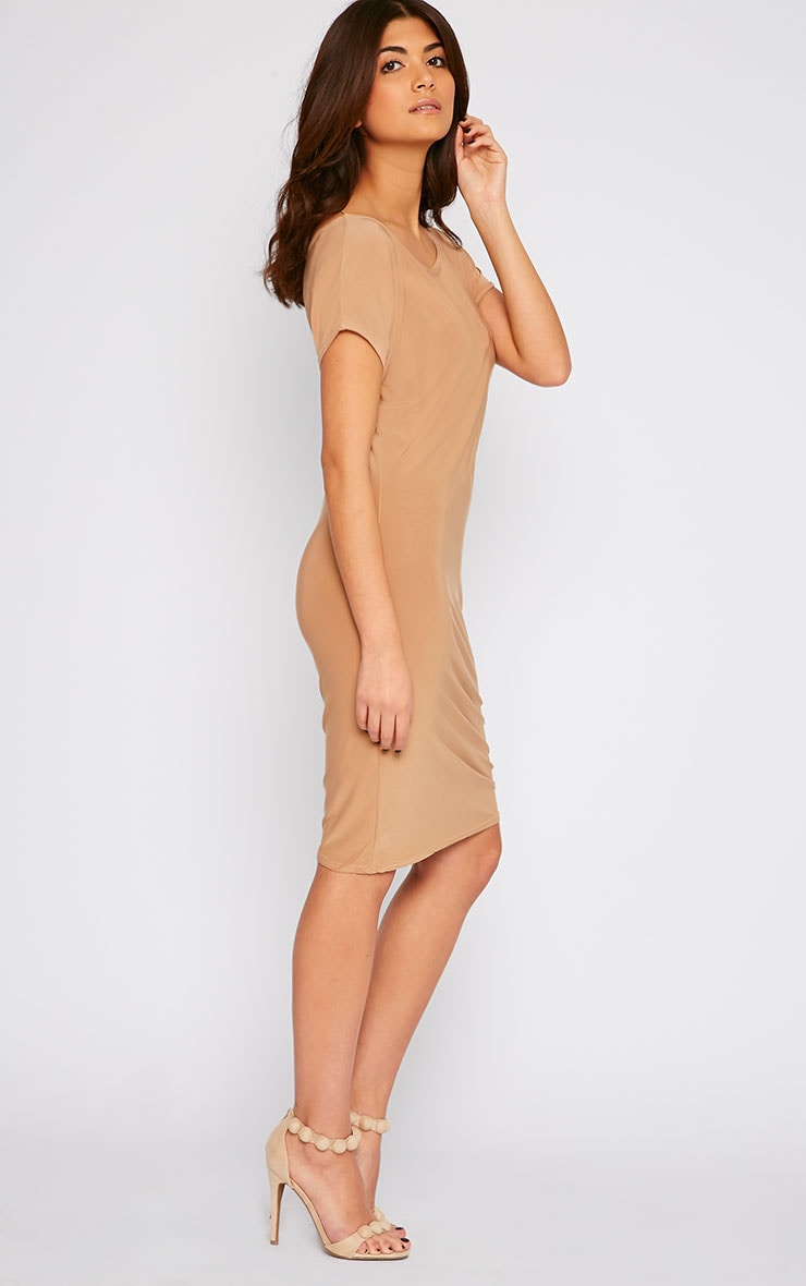 Joette Camel Slinky Gathered Dress 4