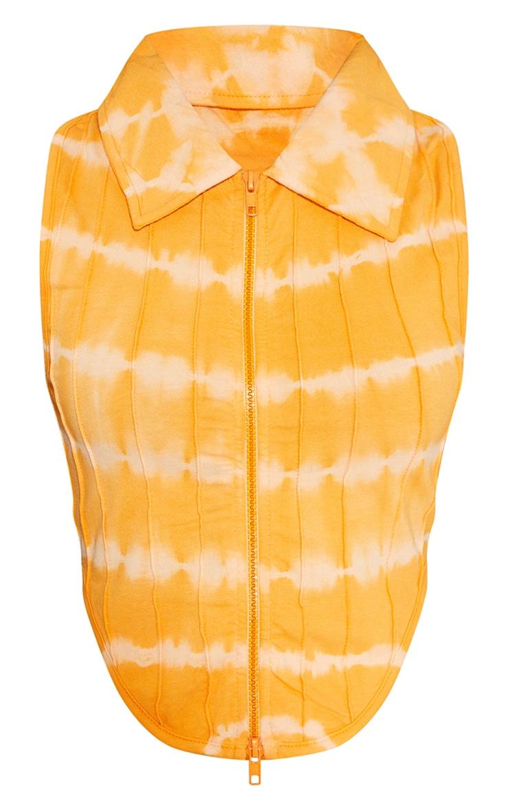 Orange Tie Dye Print Zip Front Seam Detail Sleeveless Top 5