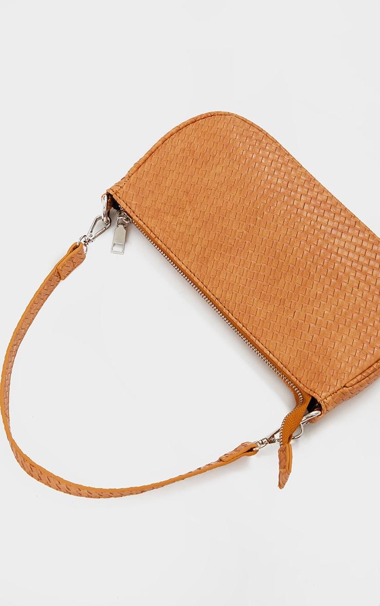 Tan Woven PU Shoulder Bag 3
